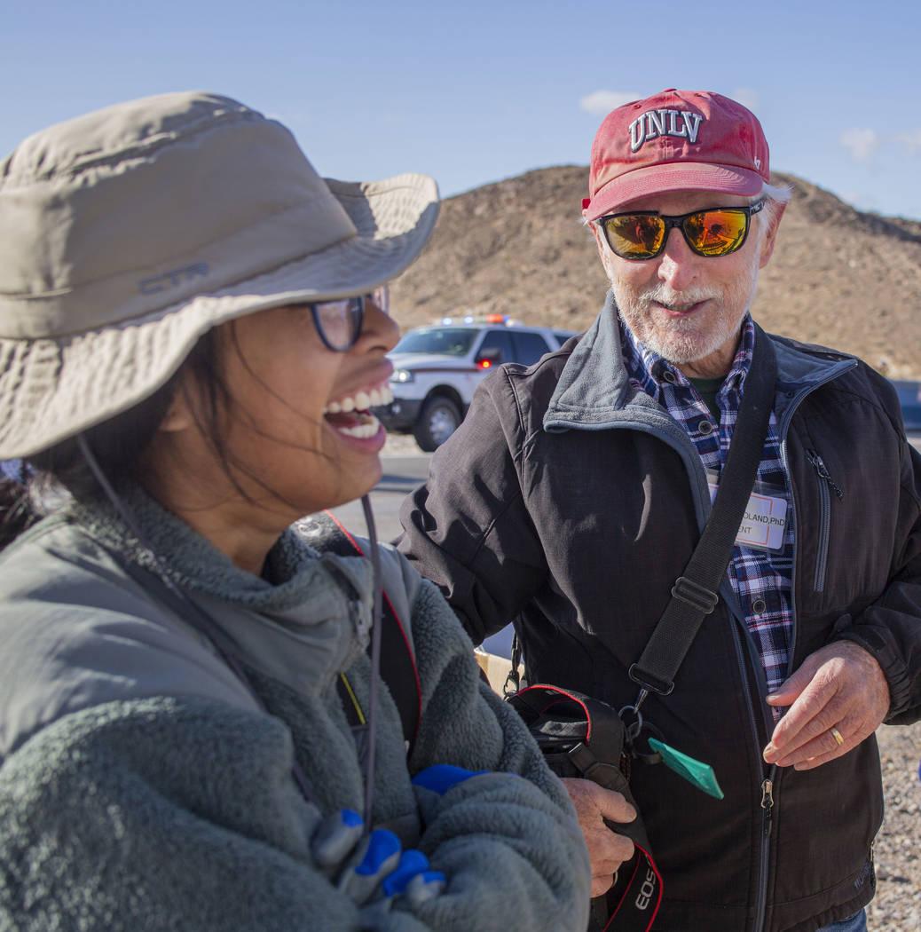 Get Outdoors Nevada volunteer coordinator Trina Franco, left, and UNLV geology Professor Steve ...