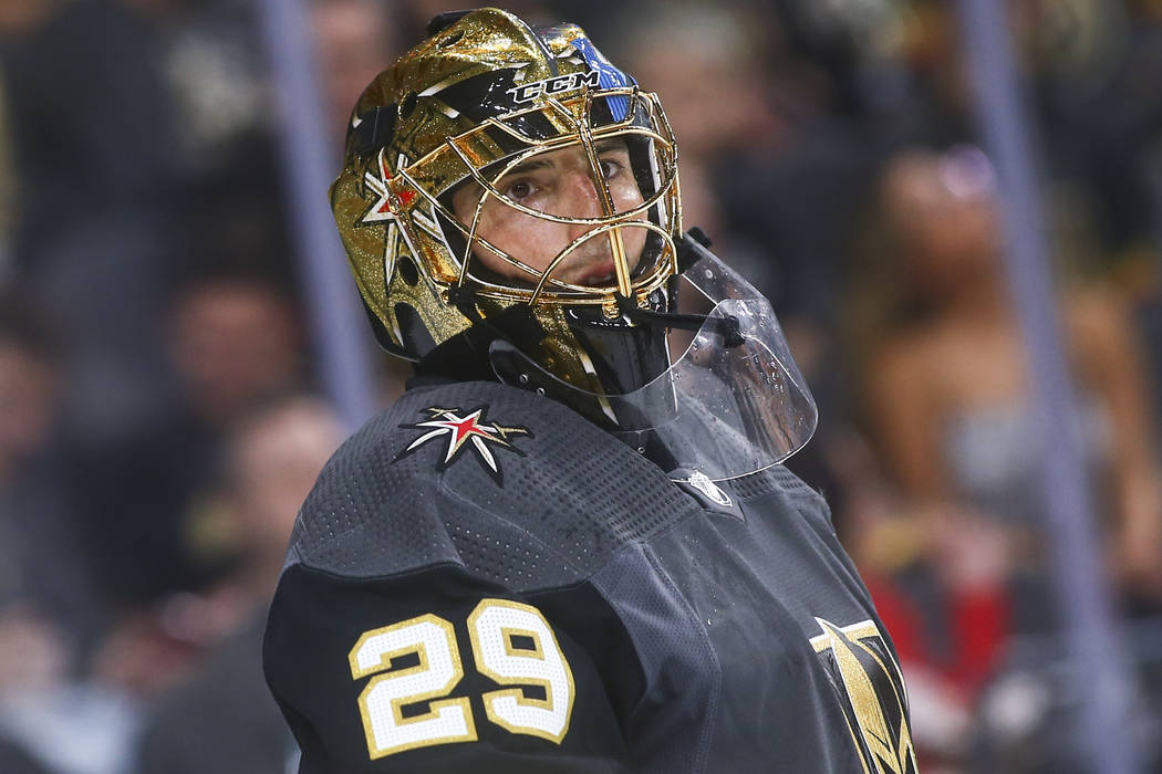Golden Knights goaltender Marc-Andre Fleury (29) looks on during the second period of an NHL ho ...
