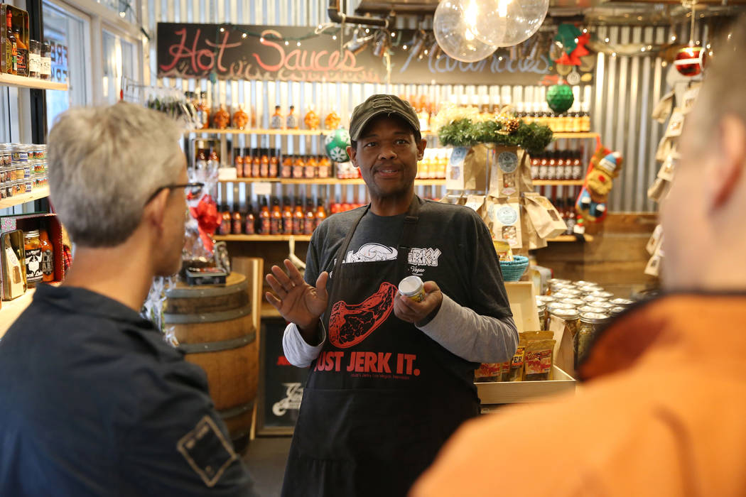 Yarnell Brazelton speaks to customers at Jojo's Jerky inside the Downtown Container Park in Las ...