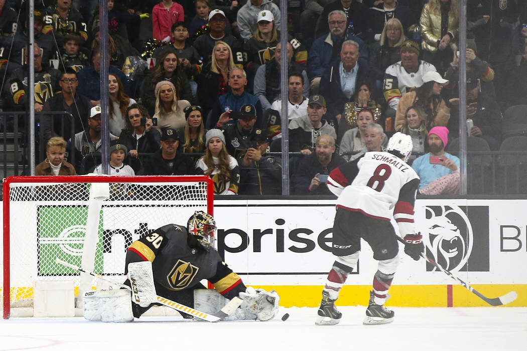 Golden Knights goaltender Malcolm Subban (30) blocks a shootout goal attempt by Arizona Coyotes ...