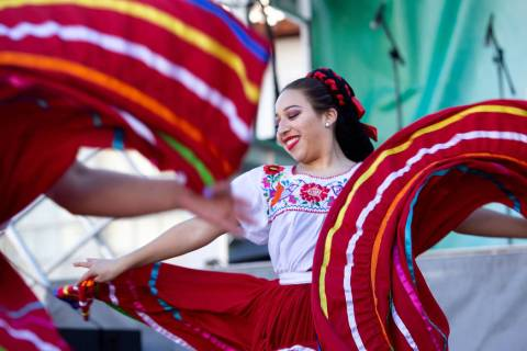 Dancers from Ballet Folklorico Izel, dance company of Mexican folklore, perform at the Las Vega ...