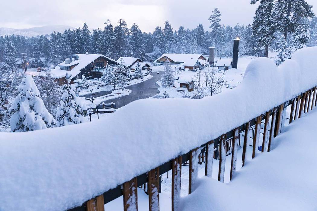 This photo provided by Big Bear Mountain Resort shows a fresh snow fall at Big Bear Mountain Re ...