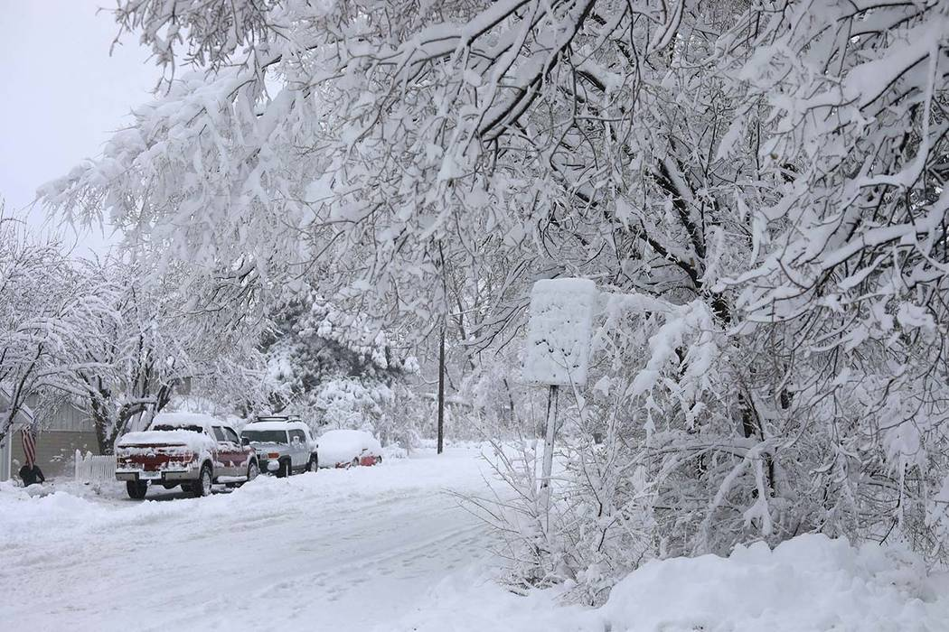 Street signs are covered in snow in north Flagstaff, Ariz., Friday, Nov. 29, 2019. A powerful s ...