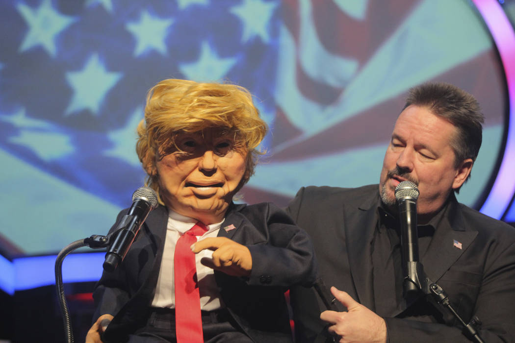 Terry Fator debuts his new Donald Trump puppet in his show at The Mirage in 2016. (courtesy)
