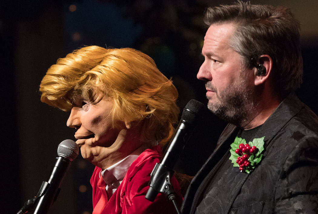 President Trump, in puppet form, is shown with Terry Fator at the Mirage in Las Vegas on Friday ...