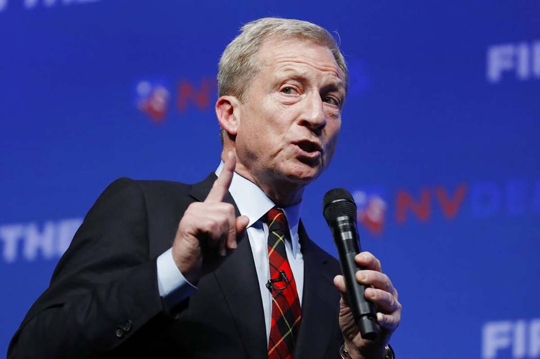 Democratic presidential candidate and businessman Tom Steyer speaks during a fundraiser for the ...