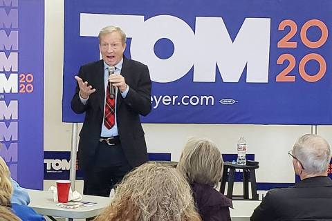 Democratic presidential candidate Tom Steyer answers a question during a discussion with the Le ...