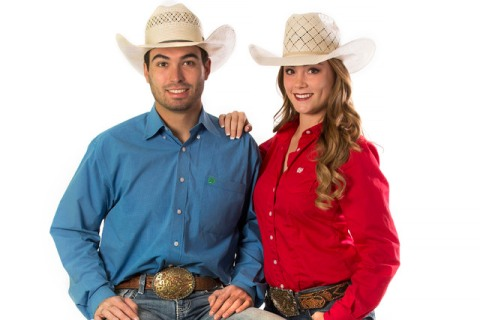 Seniors Jordan Siminoe and Kendra Cates of the UNLV rodeo team show how to dress like a cowboy ...
