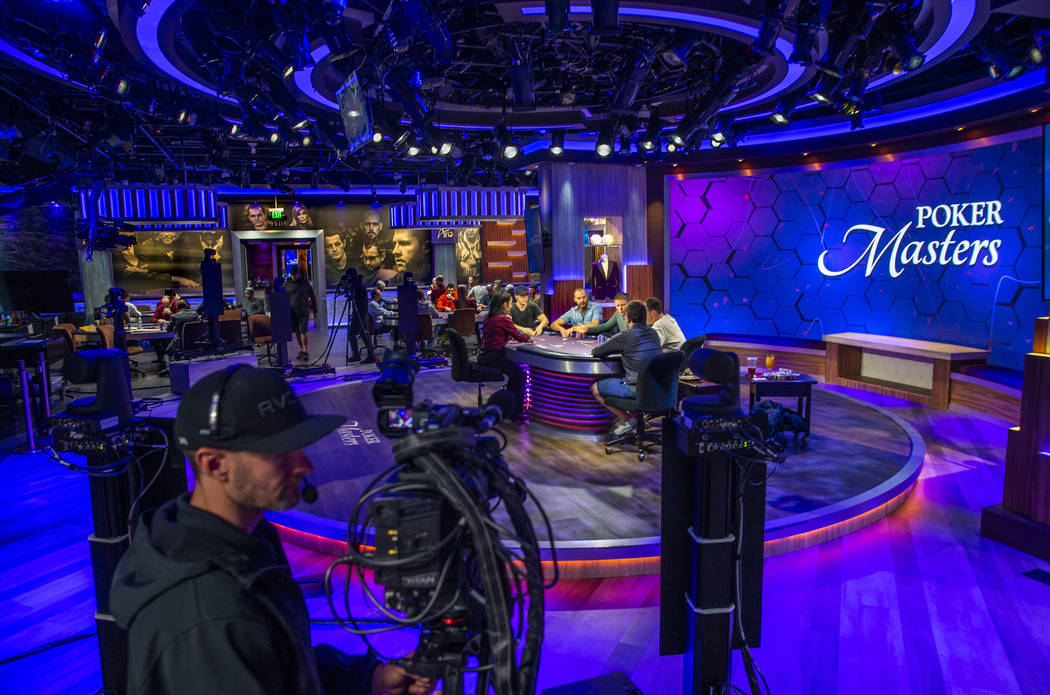 The main table during the 2019 Poker Masters is broadcast live in the PokerGO Studio at the Ari ...