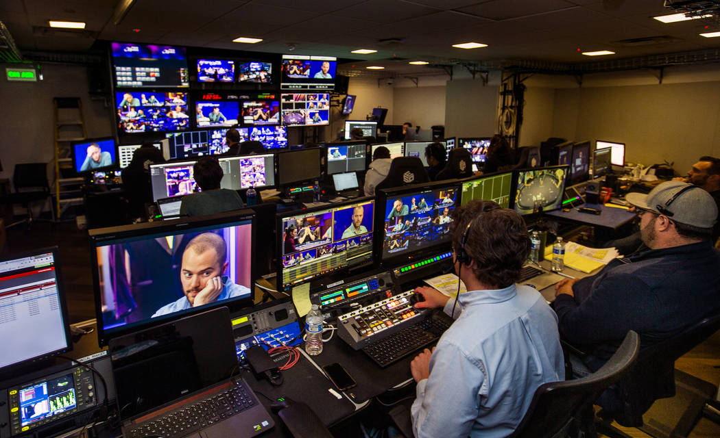 The control room is busy during the 2019 Poker Masters broadcast in the PokerGO Studio at the A ...
