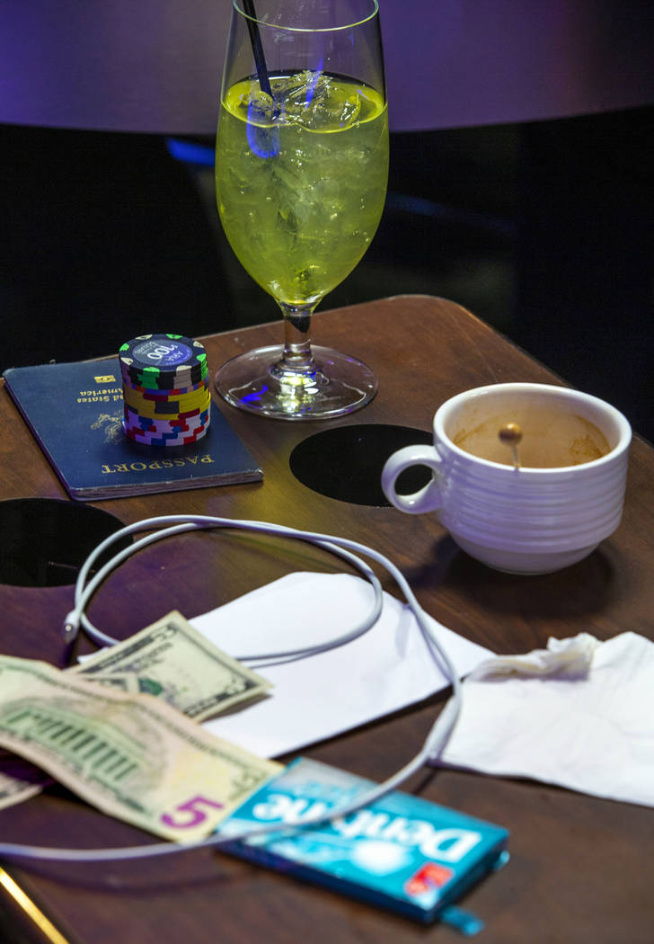 A collection of necessities from a poker player in the PokerGO Studio at the Aria on Monday, No ...