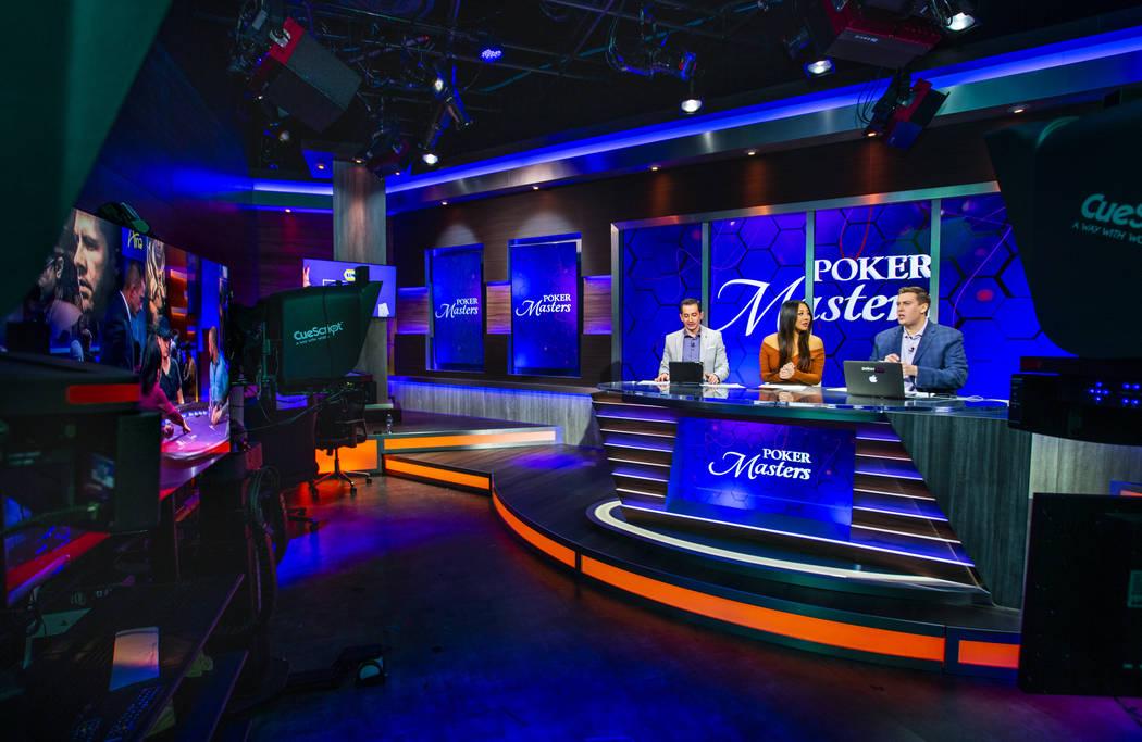Break desk commentators Jeff Platt, left, Maria Ho and Brent Hanks talk about the players durin ...