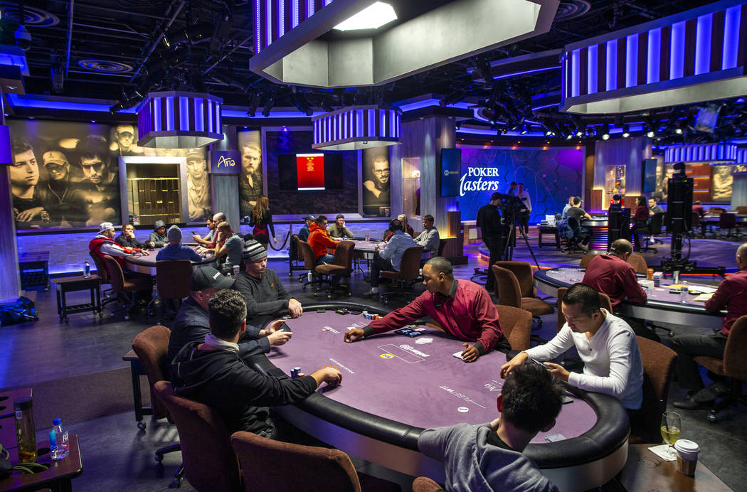 Play continues on sides as well as the main table during the Poker Masters 2019 broadcast in th ...