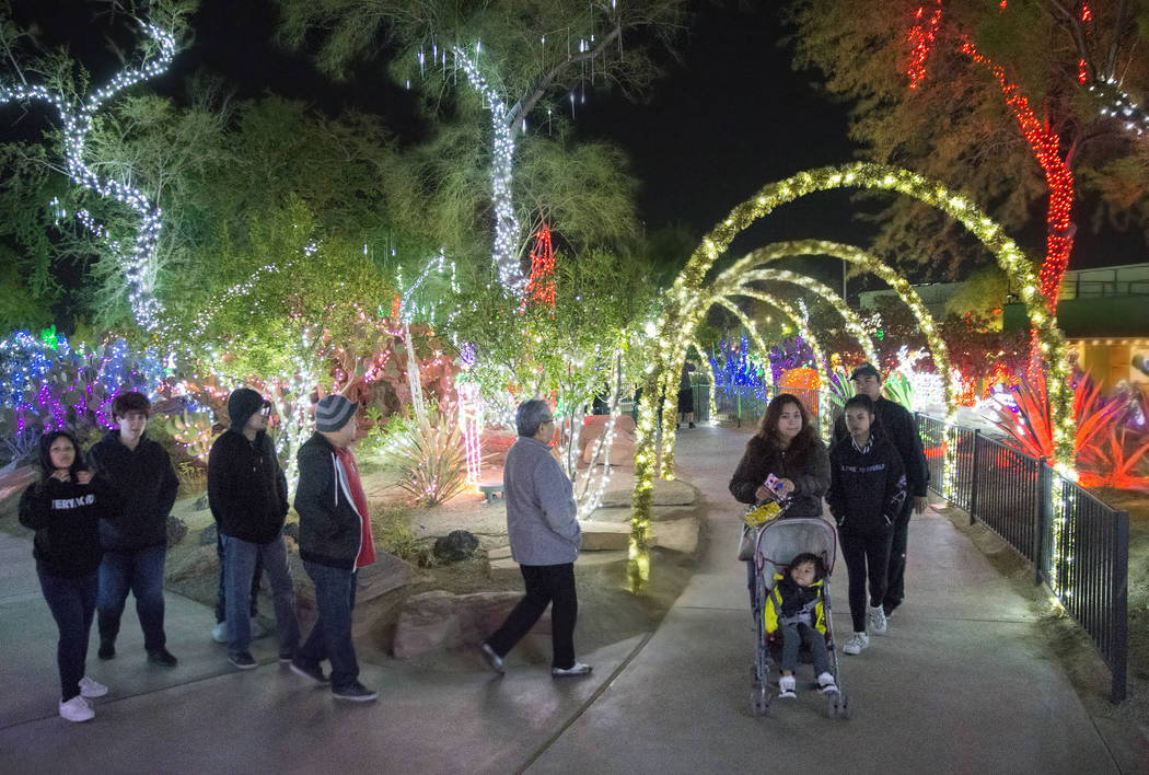 Holiday goers enjoy the lights at Ethel M Chocolates Botanical Cactus Garden on Monday, Novembe ...