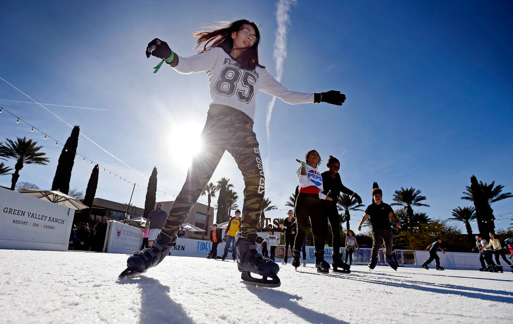 Diamond Wills, 17, skates at the Winter's Village Ice Skating Experience at Green Valley Ranch ...
