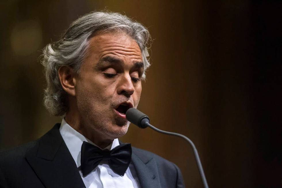 Italian tenor Andrea Bocelli performs during a concert in St. Stephen's Basilica in Budapest, H ...
