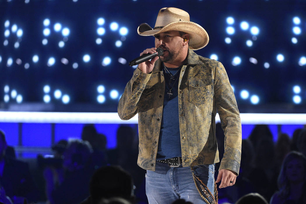"""Jason Aldean performs """"Can't Hide Red"""" at the 54th annual Academy of Country Music Aw ..."""