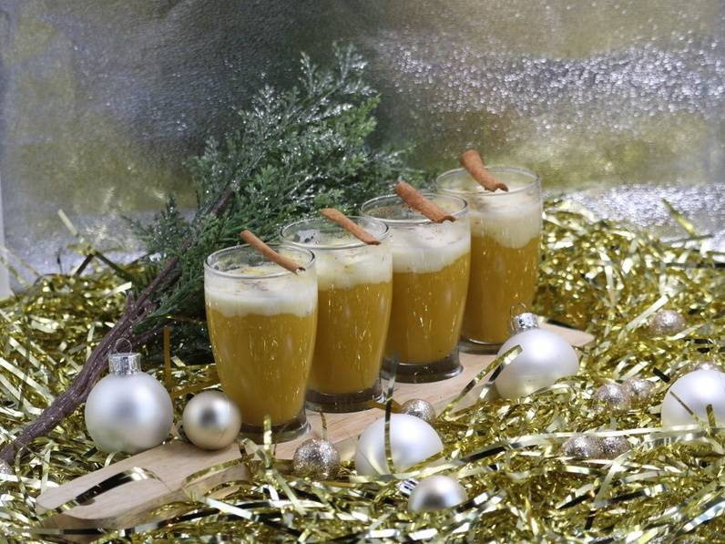 Mrs. Claus' Butternut Squash Soup Shooters at Slater's 50/50 (Slater's 50/50)