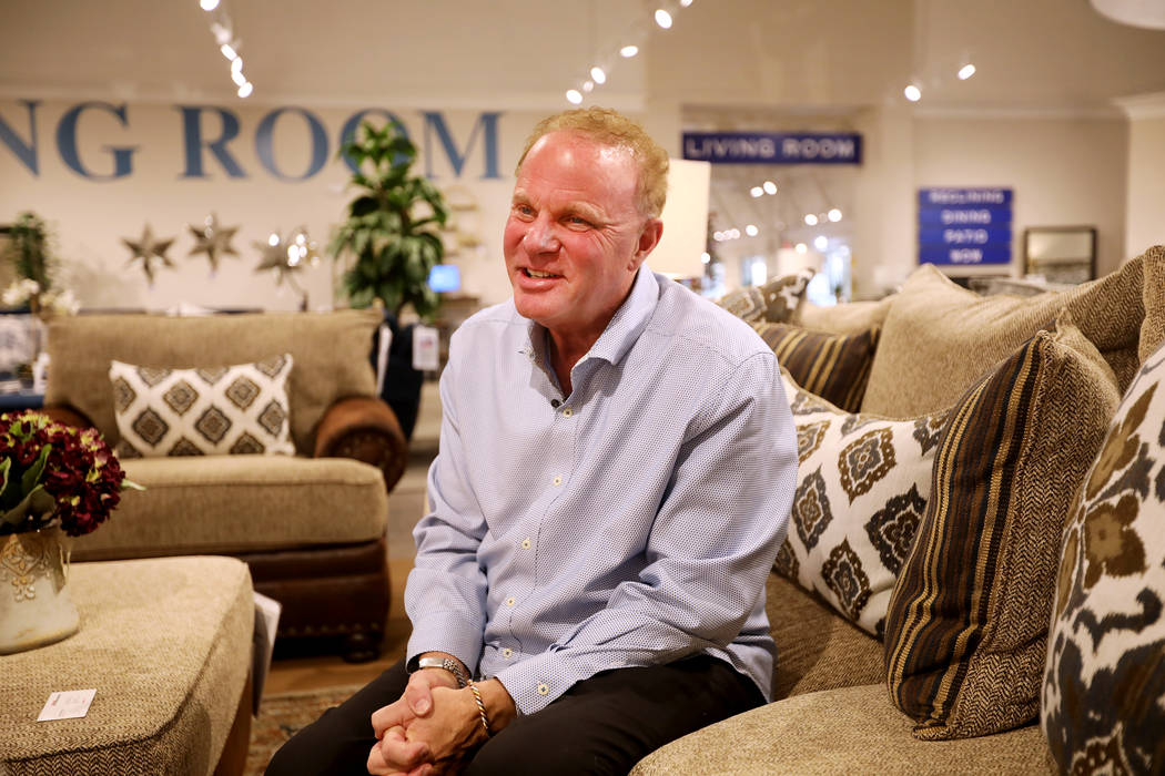 Larry Alterwitz, Walker Furniture CEO, speaks to the Review-Journal at a Walker Furniture store ...