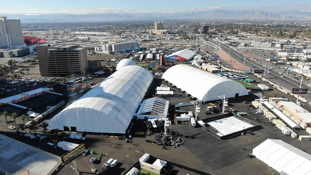 Aerial view of the Las Vegas Festival Grounds at the corner of Sahara and Las Vegas Boulevard i ...