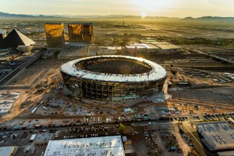 The Raiders Allegiant Stadium construction site on Wednesday, Oct. 16, 2019, in Las Vegas. (L.E ...