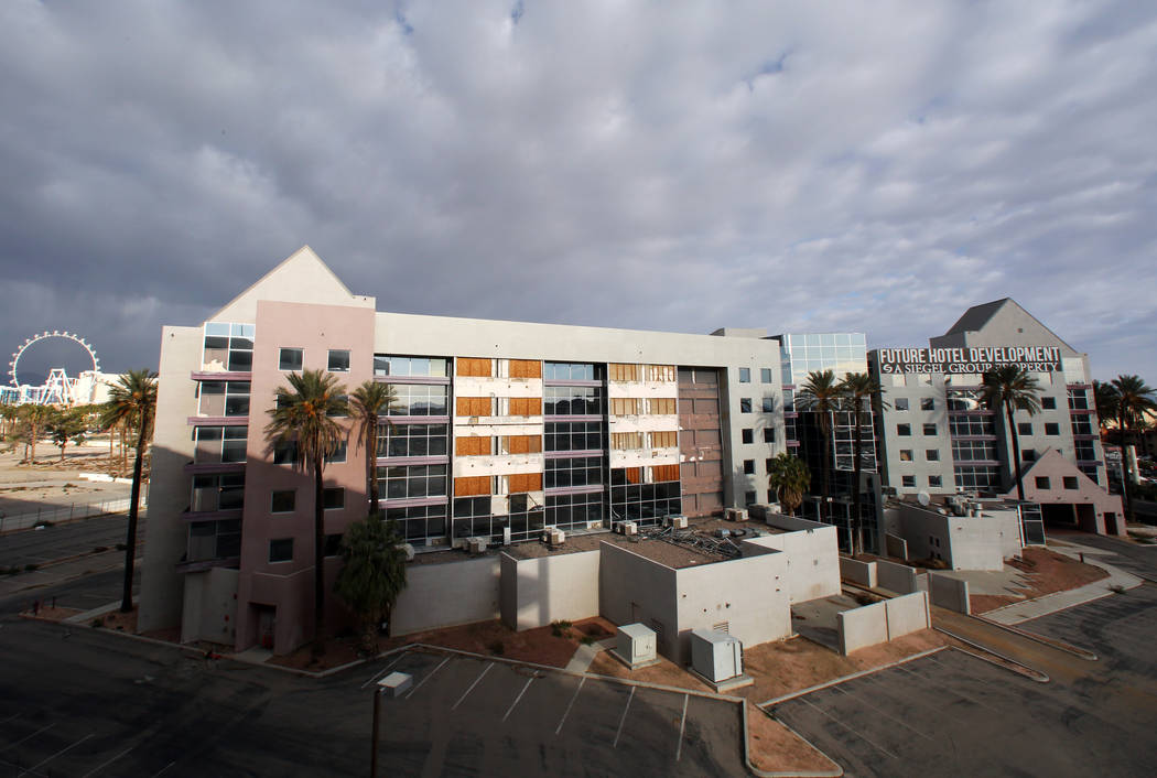 The shuttered Atrium Suites Hotel, east of the Strip next to the Hard Rock Hotel, photographed ...