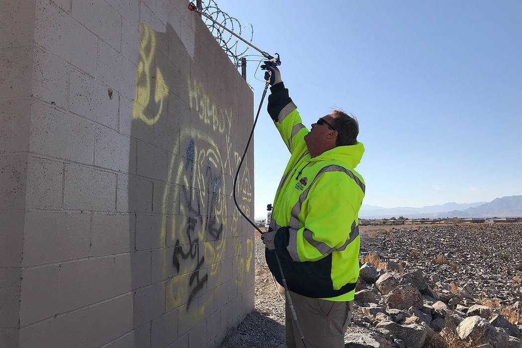 At Tule Springs Fossils Beds National Monument, Graffiti Crew Leader Scott Nichols believes it' ...