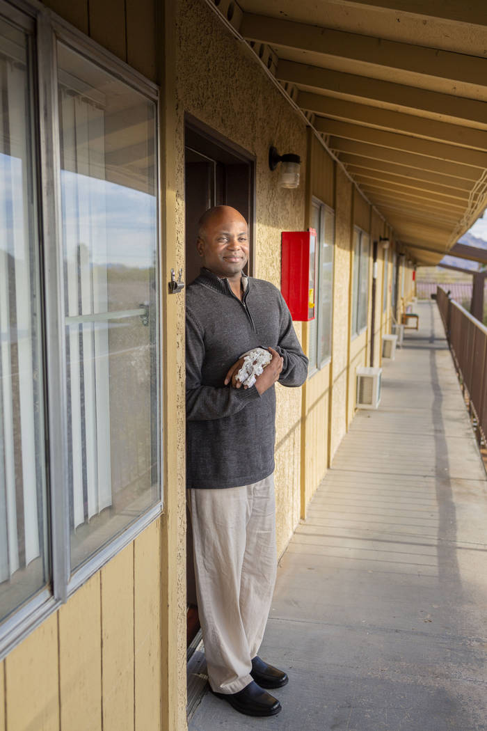 Jeffrey Fikes poses in the doorway of his supportive housing unit in North Las Vegas on Tuesday ...