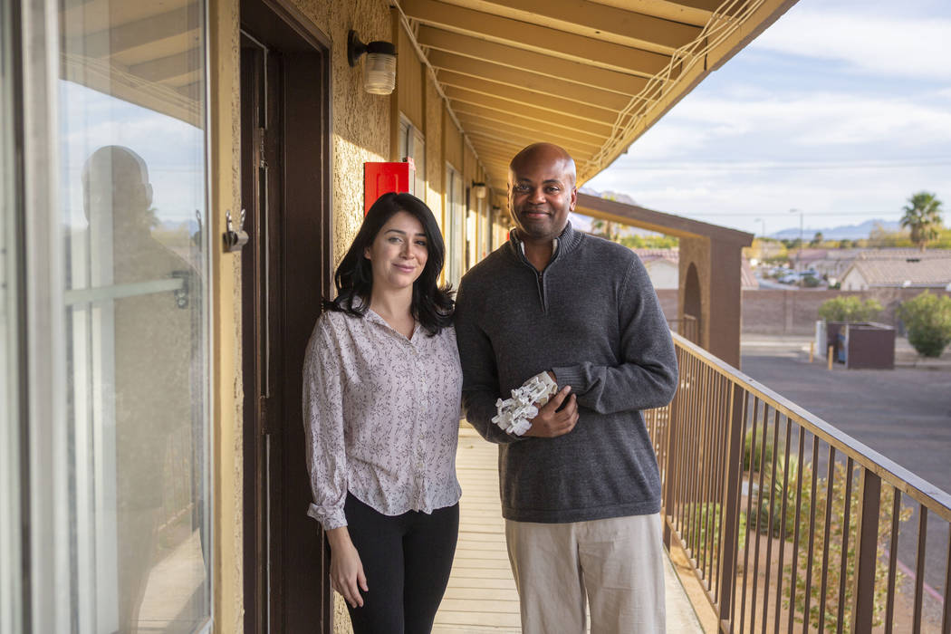Health Plan of Nevada health coach Leticia Beltran, left, and Medicaid member Jeffrey Fikes, at ...