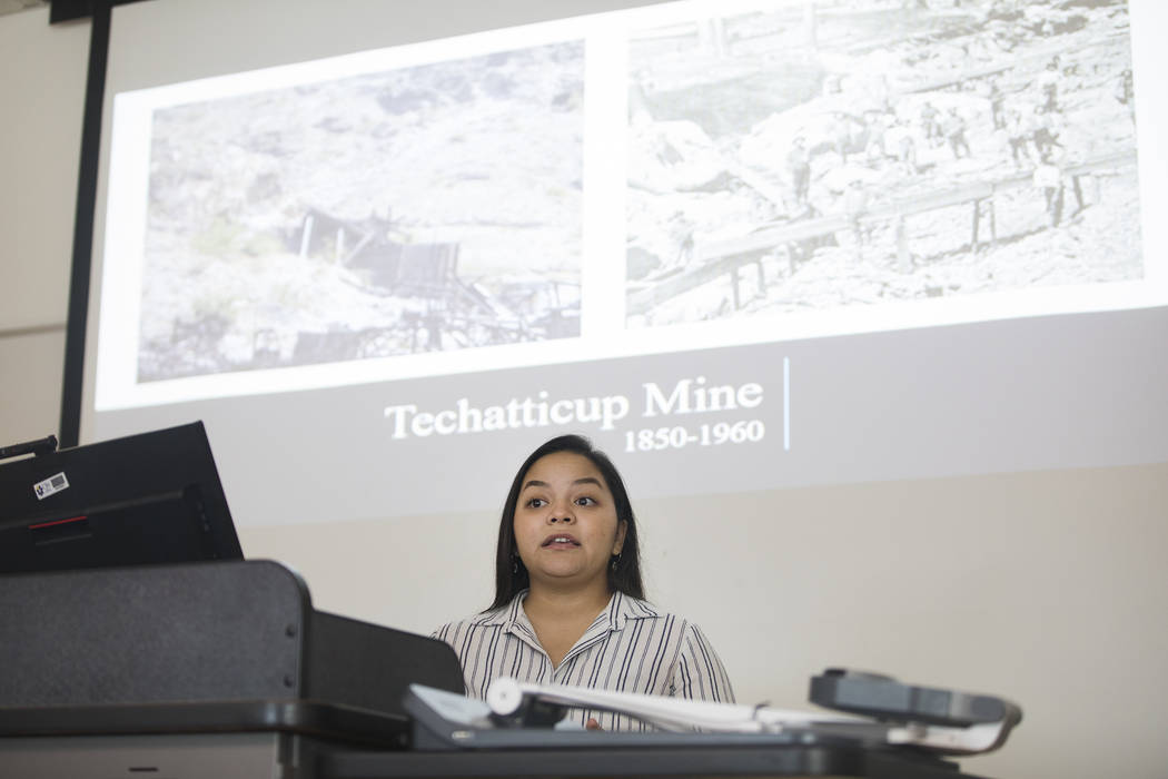 Giavanna Fernandez delivers a presentation in an environmental management class at the College ...
