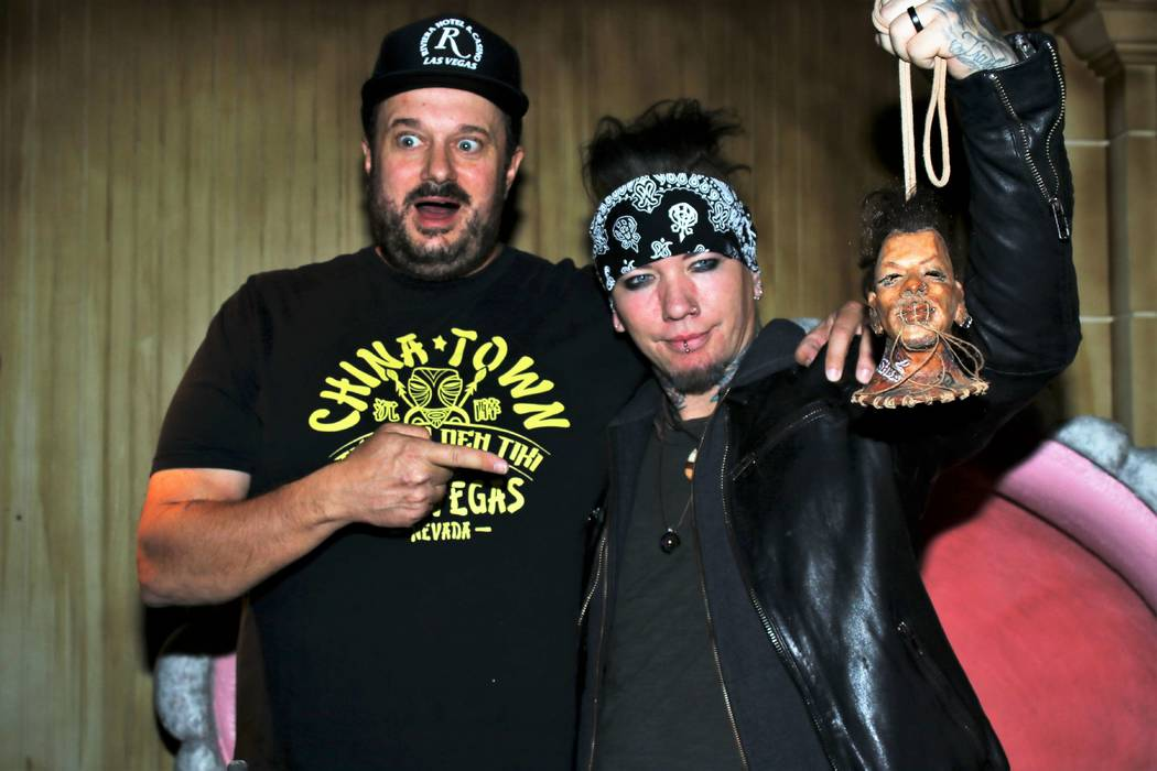 DJ Ashba is shown with The Golden Tiki Managing Partner Branden Powers on Sunday, Nov. 25, 2018 ...