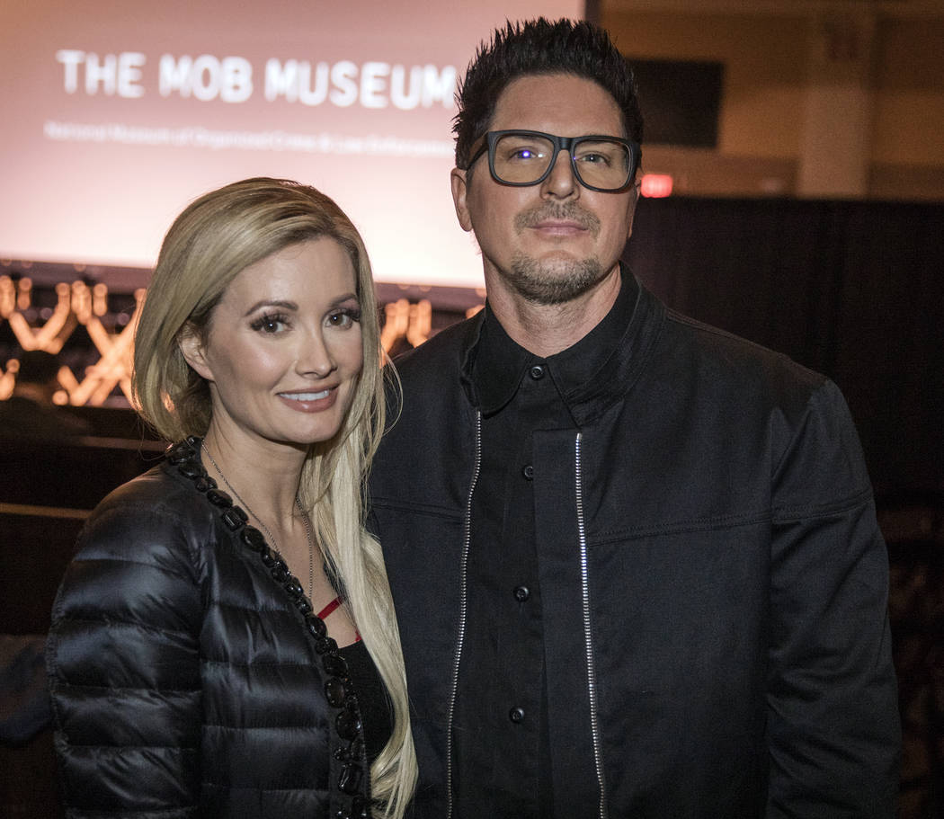"""Holly Madison and Zak Bagans are shown at the premiere of """"Mob Town"""" at the Mob Museum on Satur ..."""