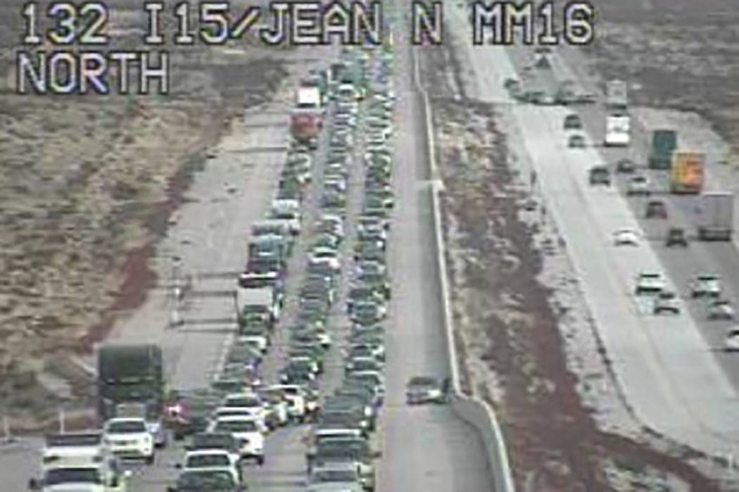 Traffic is backed up just north of Jean on Interstate 15. (Regional Transportation Commission c ...