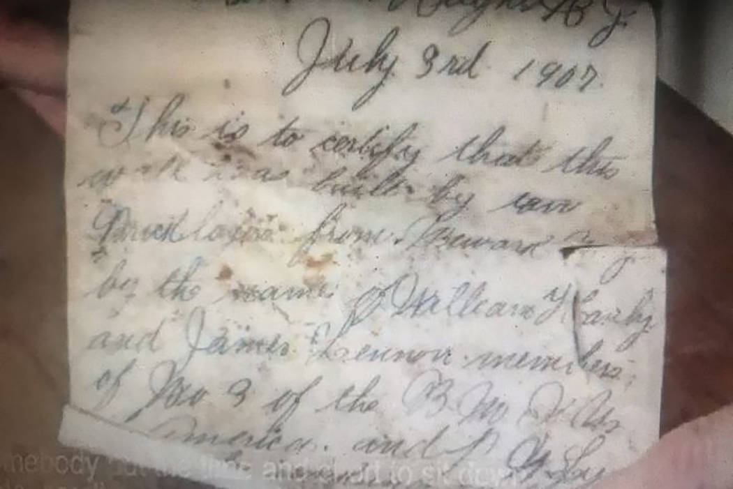 A note dated July 3, 1907, and placed in a beer bottle by two Newark bricklayers was discovered ...