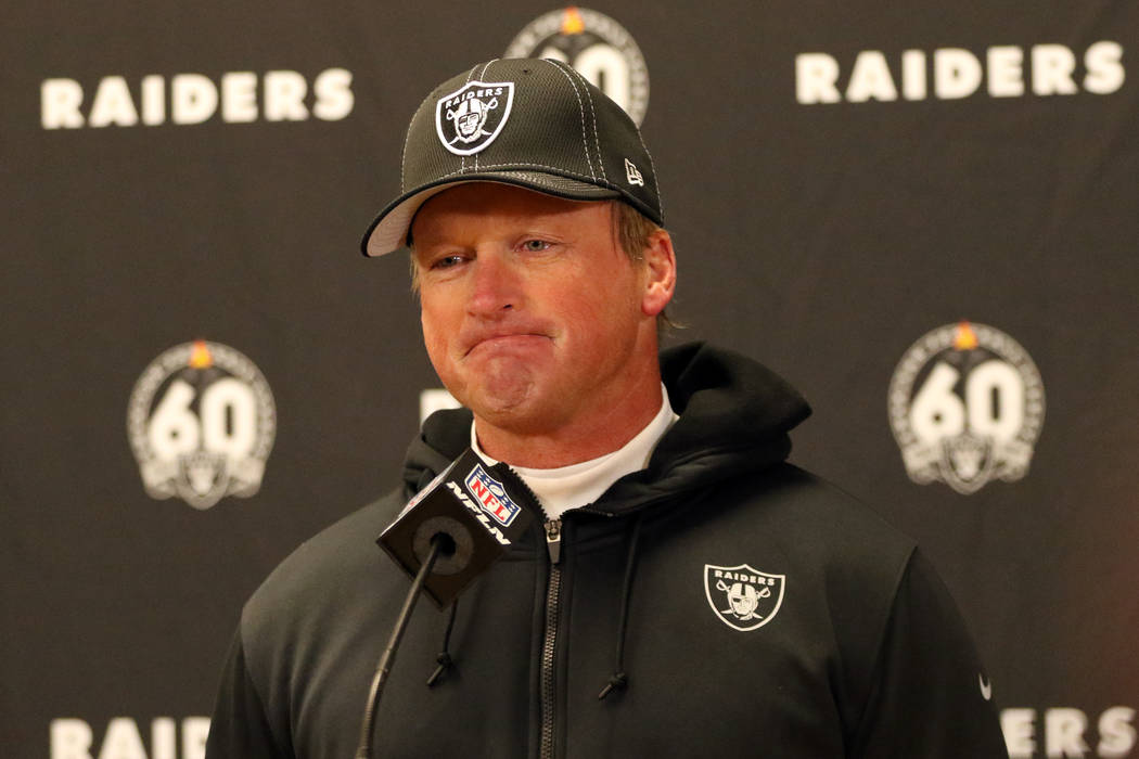 Oakland Raiders head coach Jon Gruden meets with the media after an NFL game against the Kansas ...