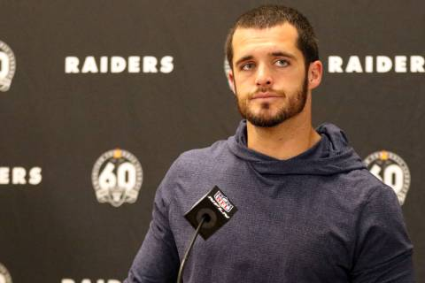 Oakland Raiders quarterback Derek Carr meets with the media after an NFL game against the Kansa ...