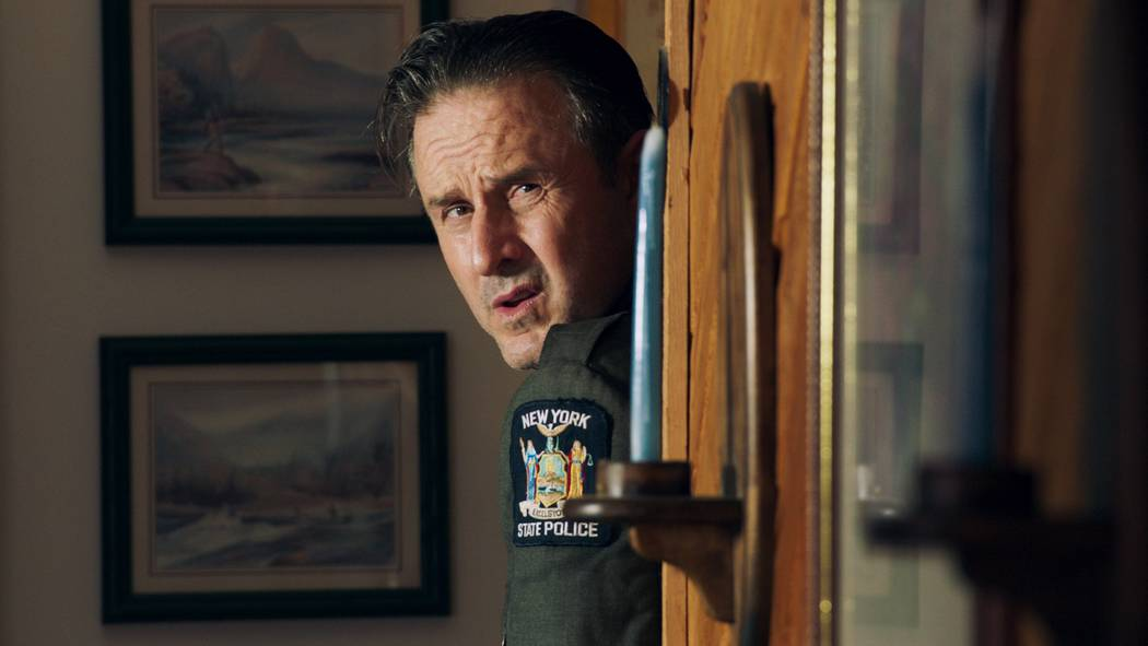 "David Arquette is shown portraying New York State trooper Ed Croswell in ""Mob Town,"" which prem ..."