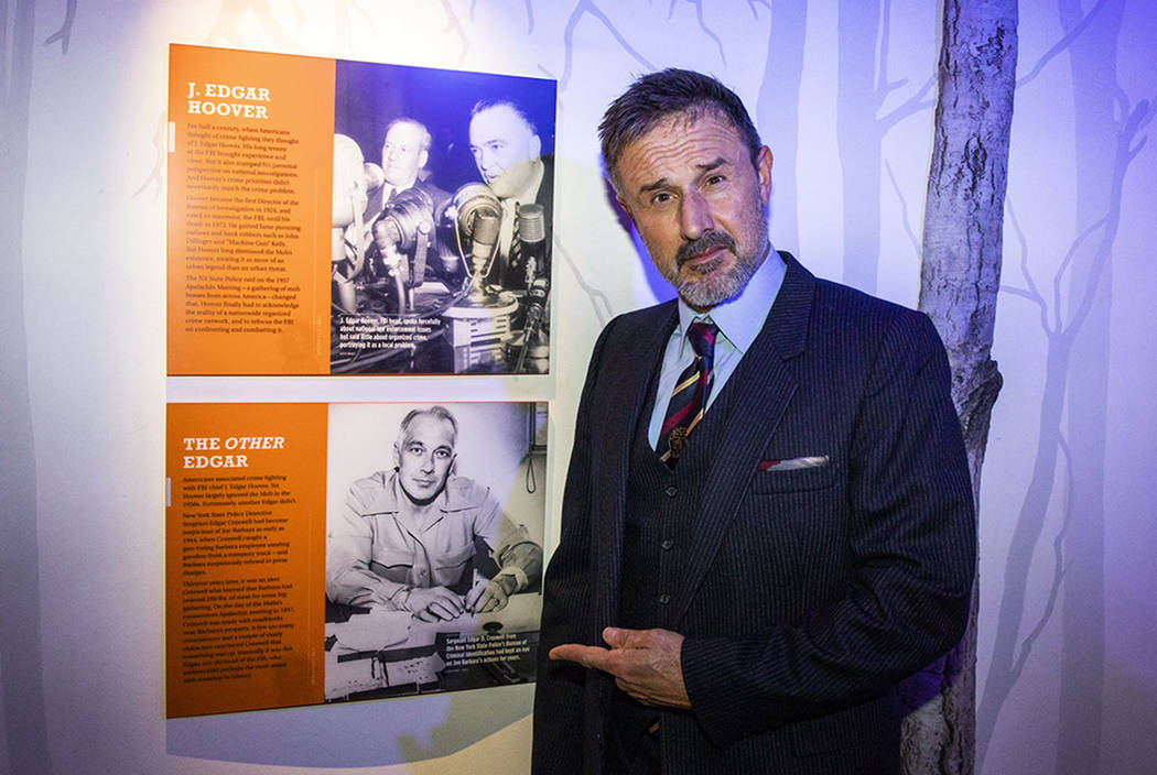 "David Arquette is shown at The Mob Museum after a screening of ""Mob Town,"" which premiered at T ..."