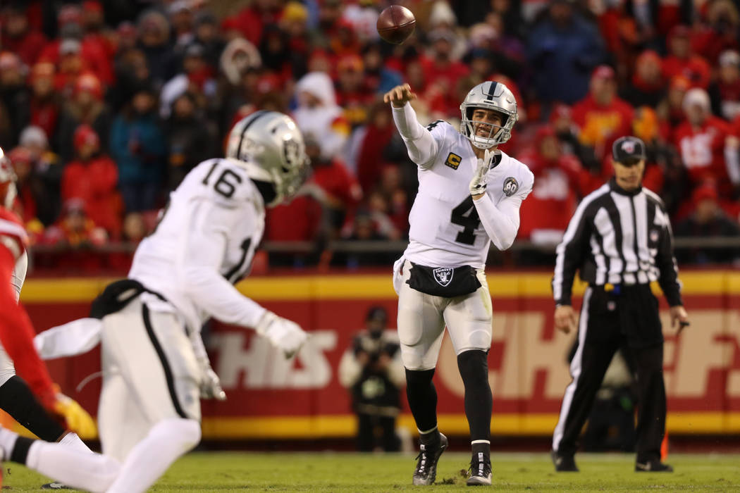 Oakland Raiders quarterback Derek Carr (4) throws the football to wide receiver Tyrell Williams ...