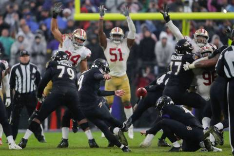 Baltimore Ravens kicker Justin Tucker (9) kicks the game winning field goal against the San Fra ...