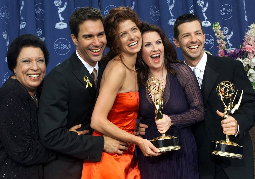 Shelley Morrison, from left, Eric McCormack, Debra Messing, Megan Mullally and Sean Hayes celeb ...