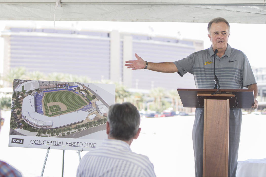 Las Vegas 51s president Don Logan speaks during a press conference to officially announce the 2 ...