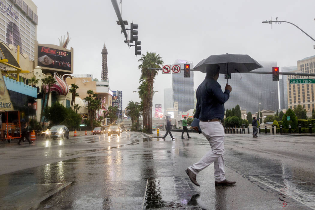 Rain falls on the Strip in Las Vegas on Wednesday Nov. 20, 2019. Rain is a possibility on Wedne ...