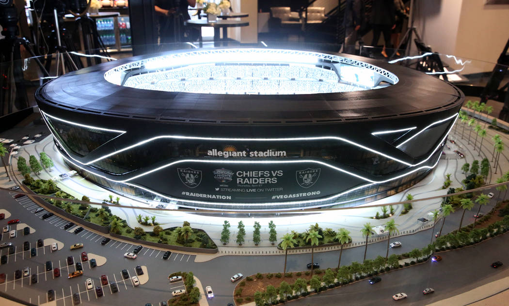 A Raiders Stadium model is displayed during a press conference on Monday, Oct. 14, 2019, in Las ...