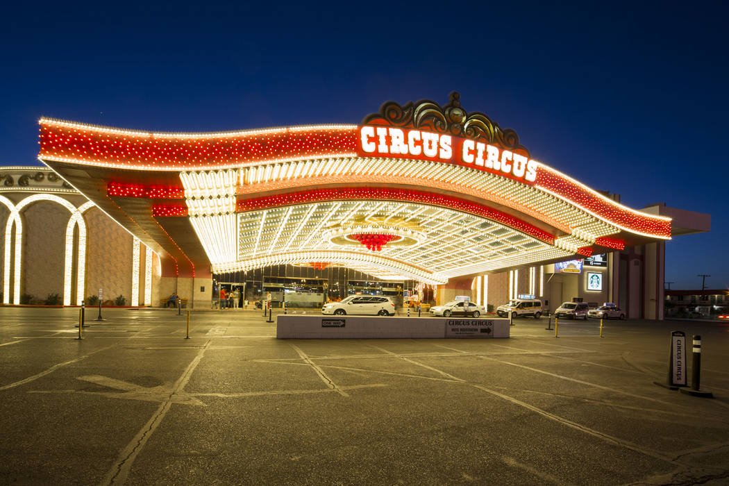 The main entrance to MGM's Circus Circus hotel-resort in Las Vegas on Monday, June 18, 2018. (R ...