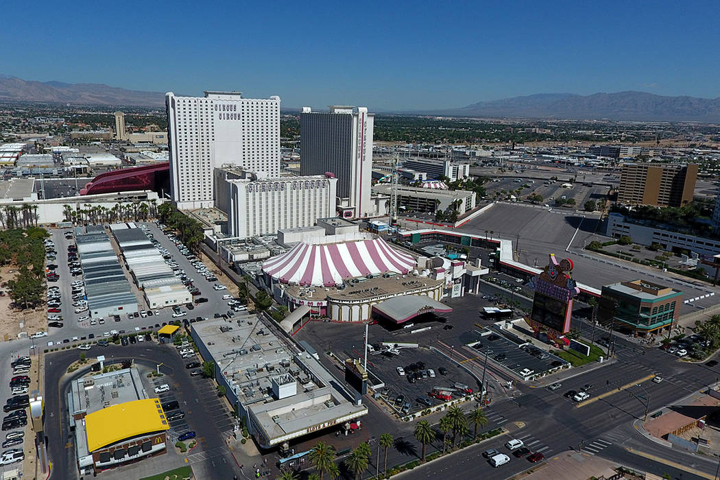 An aerial photo Circus Circus on Friday, October 4, 2019. (Michael Quine/Las Vegas Review-Journ ...