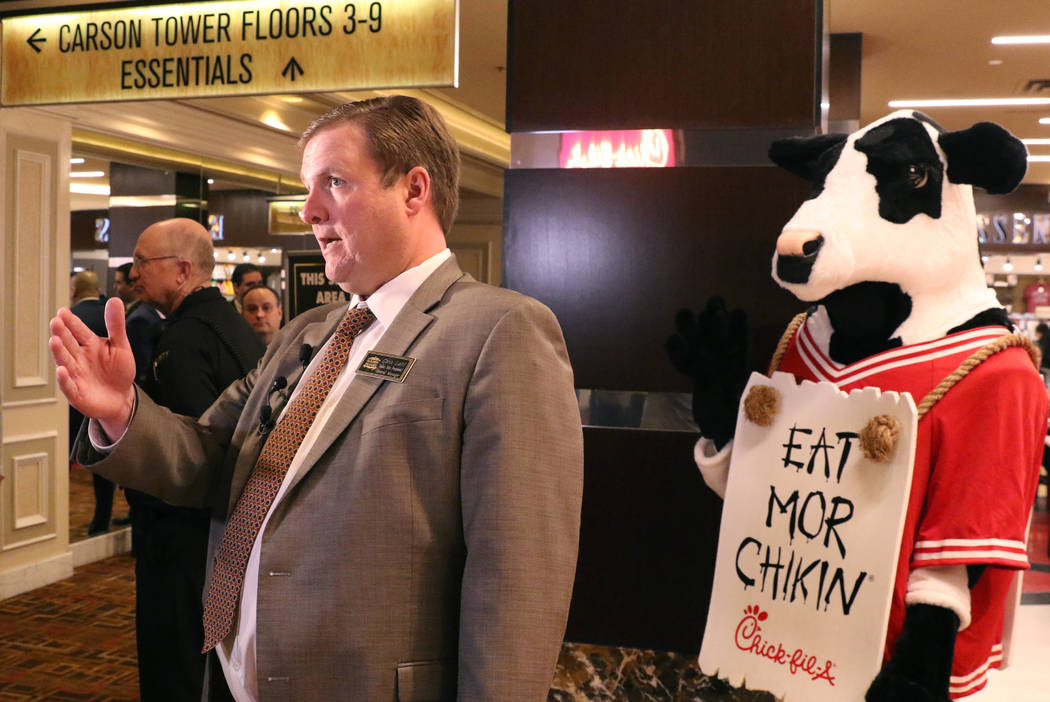 Chris Latil, senior vice president/general manager at the Golden Nugget, speaks during the open ...