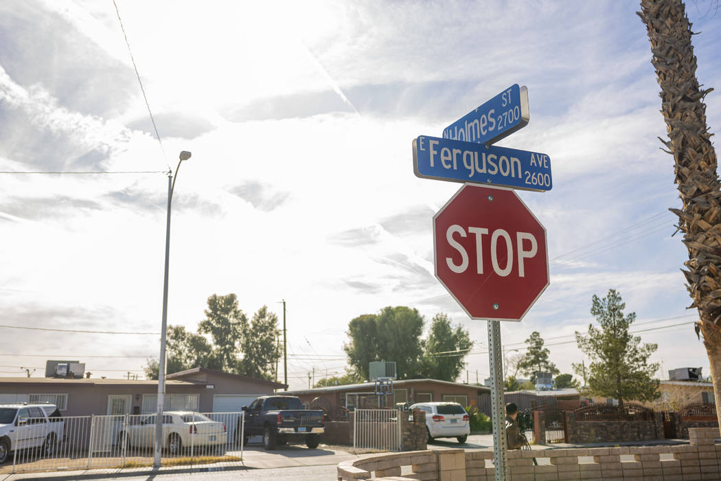 The location where Kevin Soriano, 17, of North Las Vegas, was shot and killed Sunday, Dec. 1, 2 ...