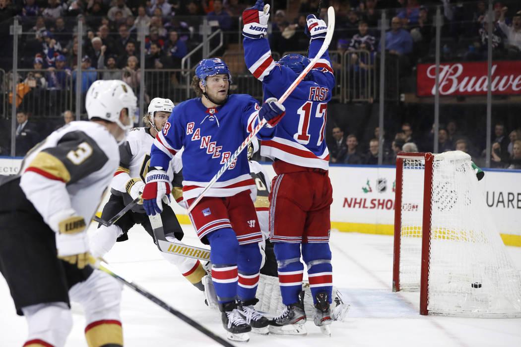 New York Rangers left wing Brendan Lemieux (48) and right wing Jesper Fast (17) celebrate Lemie ...