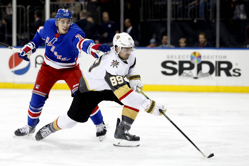New York Rangers defenseman Brady Skjei (76) cannot stop Vegas Golden Knights right wing Alex T ...